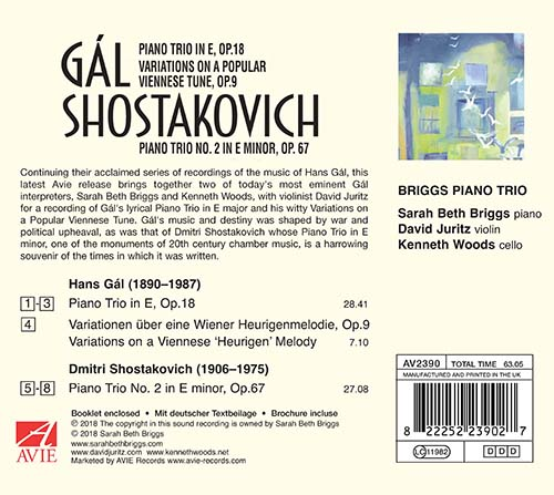 The Briggs Piano Trio Gál and Shostakovich backcover