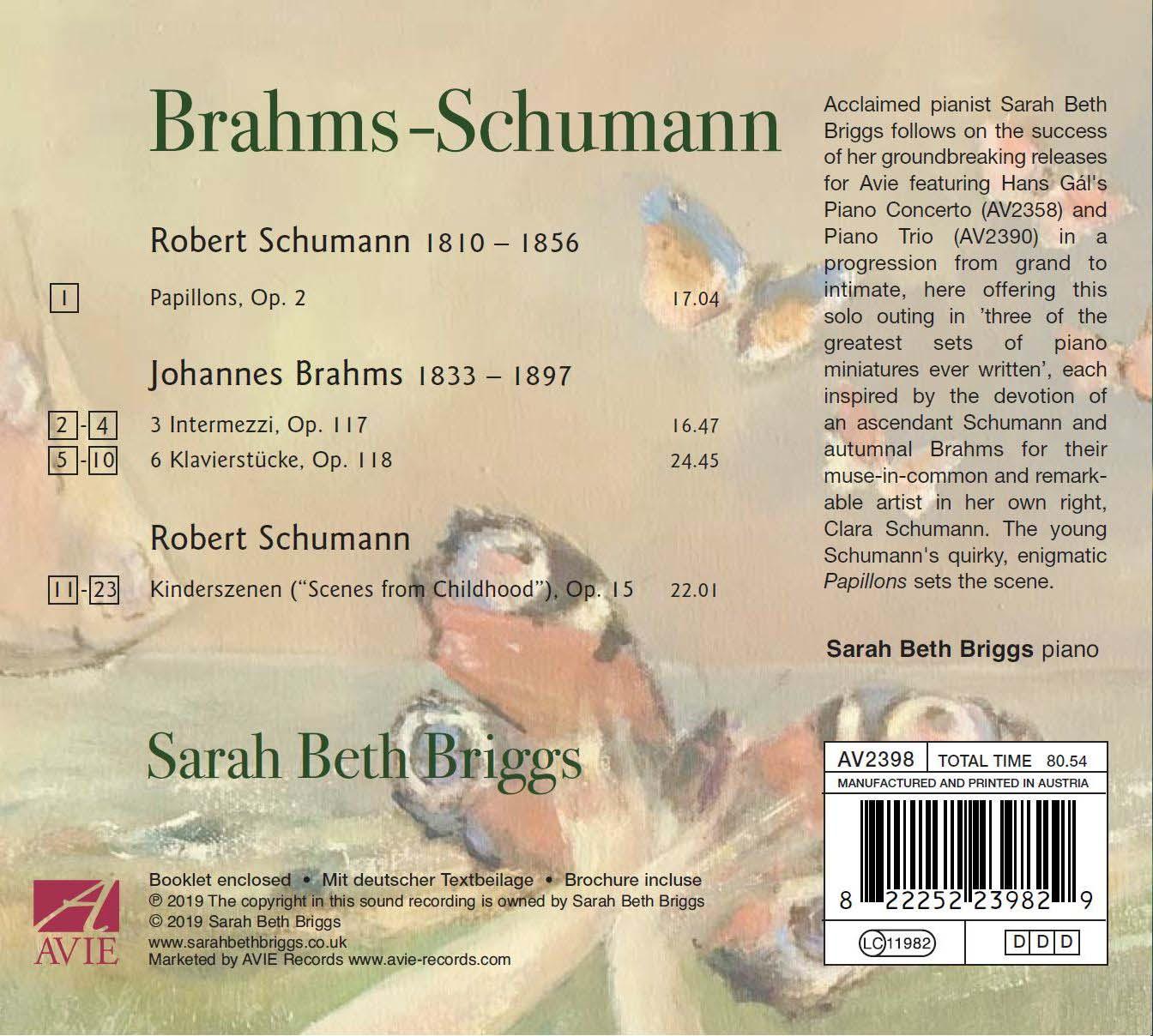 Sarah Beth Briggs Schumann Brahms album back