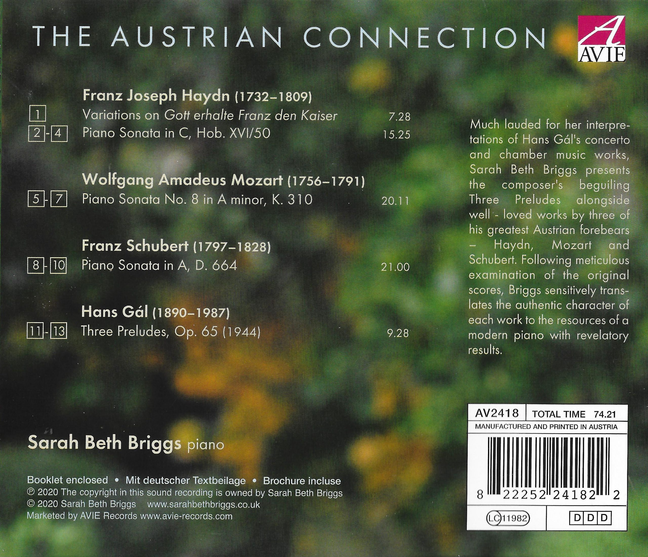Sarah Beth Briggs The Austrian Connection album back cover